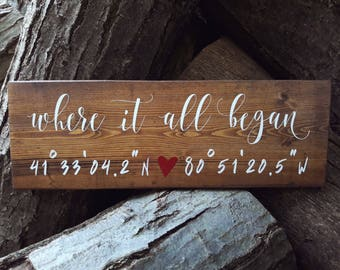 Wood Coordinates Sign | Coordinates Sign | Where It All Began Sign | Location Sign | Wedding Location Sign | GPS Sign | Wedding Sign