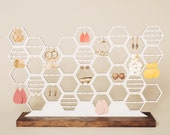 Large Earring Organizer Honeycomb Jewelry Holder Display Modern White And Wood Stud Dangling Earring Storage For Dresser Vanity 60 Pairs