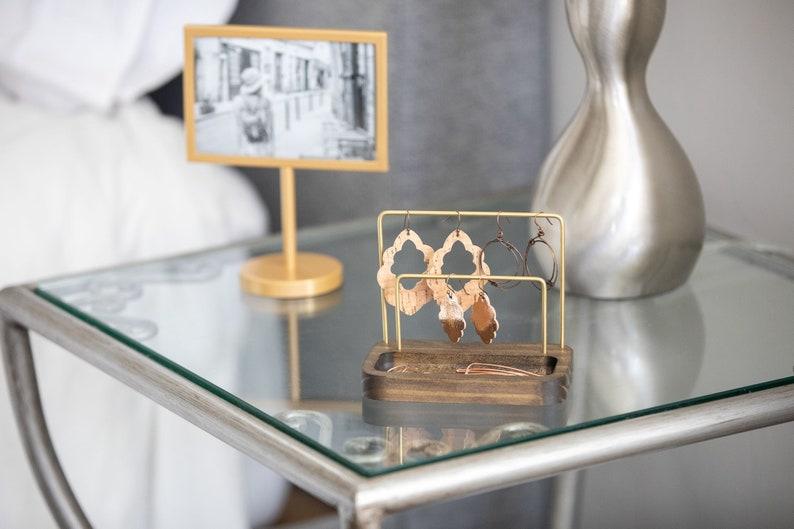 Modern Minimalist Jewelry Storage Display Organizer Small Earring Stand Huggies Studs Hoops Boho Decor Jewelry Holder Brass And Wood