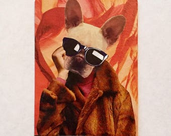 Collage on vintage playing card: French bulldog