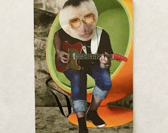 Collage on vintage playing card: funky monkey