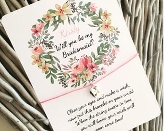 7c4074c75378 Will you be my Bridesmaid Wish Bracelet - Hens - Bridesmaid Gift -  Personalised