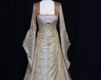Renaissance dress, Fae gown, woodland dress, handfasting, gold gown,elven gown, autumn dress, medieval clothing