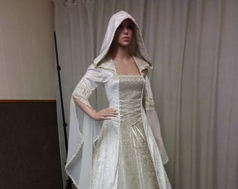 Celtic wedding dress, medieval wedding dress, renaissance gown, handfasting dress, cold shoulder gown, ivory wedding gown, hooded dress