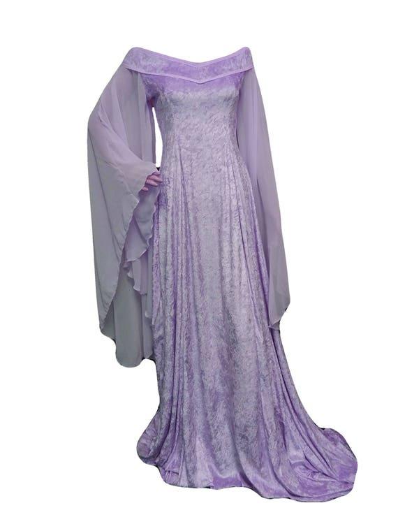 Lila Mittelalter Brautkleid Elfen Kleid aus der Schulter | Etsy