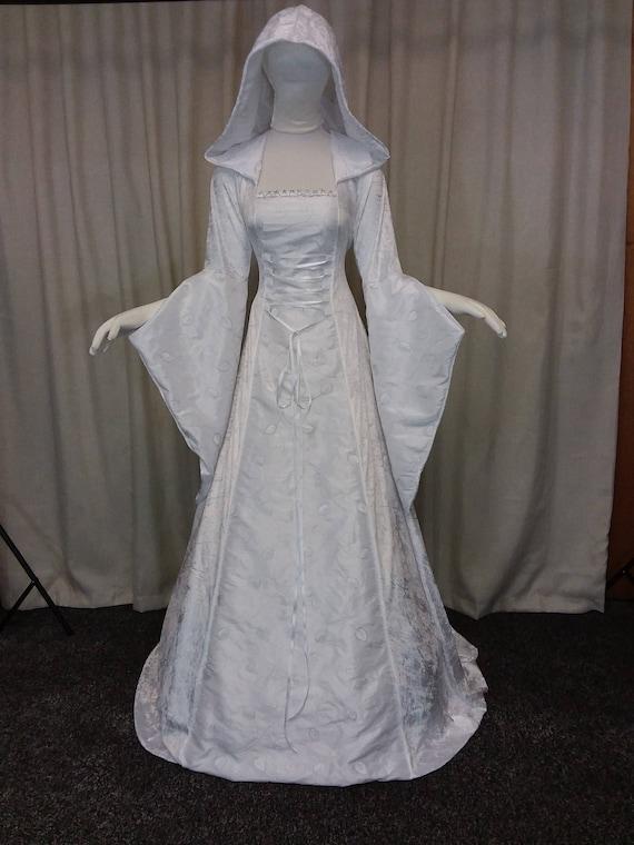 Handfasting Kleid Mittelalter Kleid weiß Silber bestickten