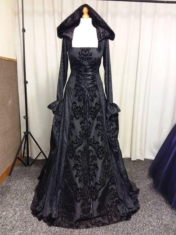 Gothic-Kleid schwarz Mittelalter Kleid Abschlussballkleid