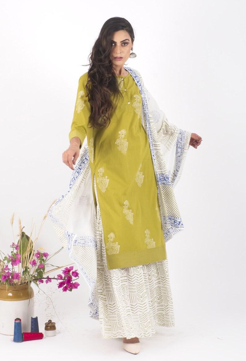 Mehendi Cotton Sharara Set