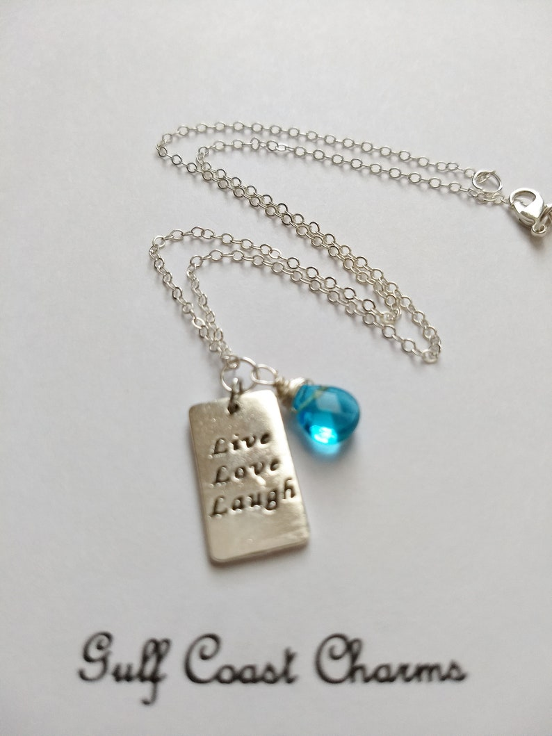 Gifts for Mom Turquoise Crystal Necklace Message Tag Live Love Laugh Message Tag Necklace Turquoise December Birthstone Necklace