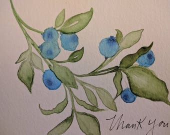 Thank you card, watercolor, handmade, set of 5 cards & envelopes