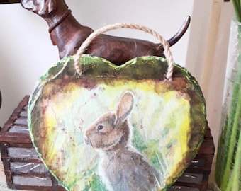 Vintage Style Hare Slate Heart