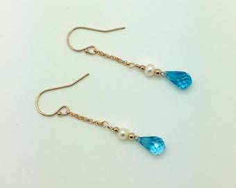 Blue Topaz & Freshwater Pearl 14K Rose Gold Fill Earrings #AVEN109