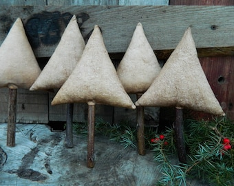 5 primitive christmas trees_bowl filler_holiday decor_rustic country decor_primitive garland_tree ornaments_home decor_primitive gifts