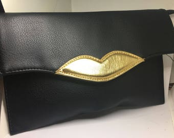 "Vintage ""Hot Lips"" Black Clutch Handbag"