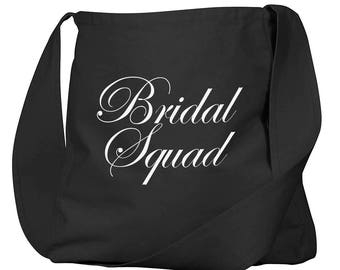 Bridal Squad Black Organic Cotton Slouch Bag