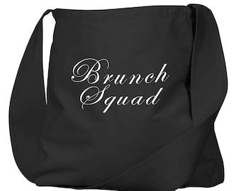 Brunch Squad Black Organic Cotton Slouch Bag