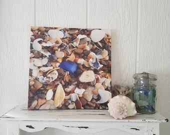 Cobalt Blue Sea Glass Gallery Wrapped  Canvas Wall Hanging