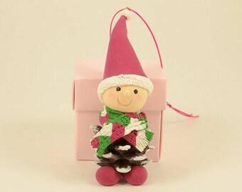 Pine Cone Fairy Christmas Ornament/X'mas Tree Decorations/Handmade Air Dry Clay X'mas Ornament/X'mas Craft/Handmade X'mas Gift/Gift for Kids