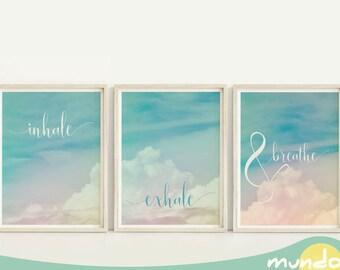 Atmen Sie Ein, Ausatmen Drucke, Einatmen Ausatmen Und Atmen Sie, Yoga  Plakat Kunst