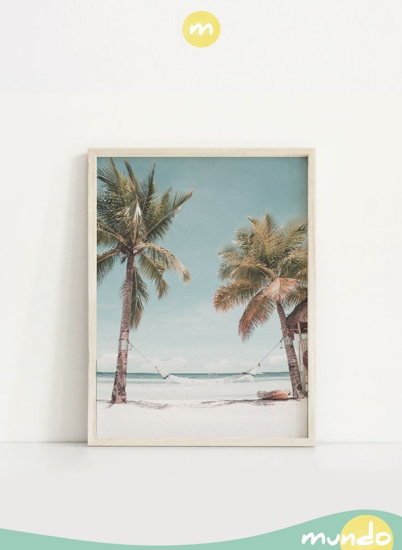 Coastal wall art printable Palm trees poster