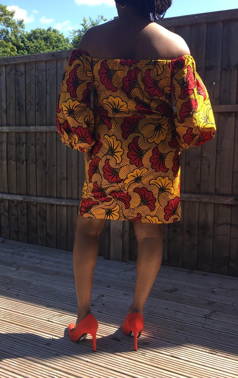 Off Shoulder Dress African Print Dress Bardot Dress with side pockets and elasticated neck and shoulder Ankara Dress