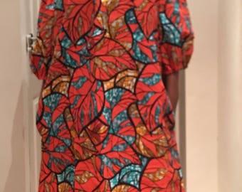 Ankara Dress, Off Shoulder Dress, African Print Dress, Bardot Dress with side pockets and elasticated neck and shoulder