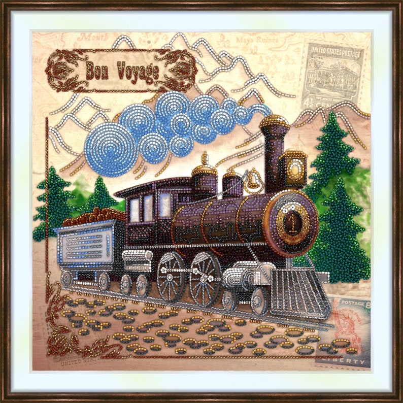 size 11.8x11.8in 30x30cm Bead embroidery kit \u00abBon Voyage\u00bb Landscape and Towns,Transportation