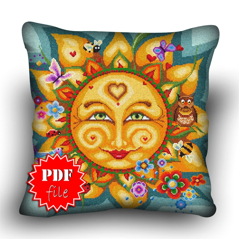 Pillow Cross stitch pattern Sartorial SolPDFFantasy and image 0