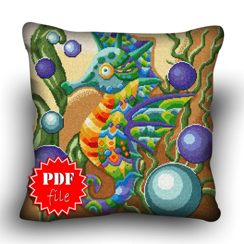 Pillow Cross stitch pattern Winged SeahorsePDFAnimalssize image 0