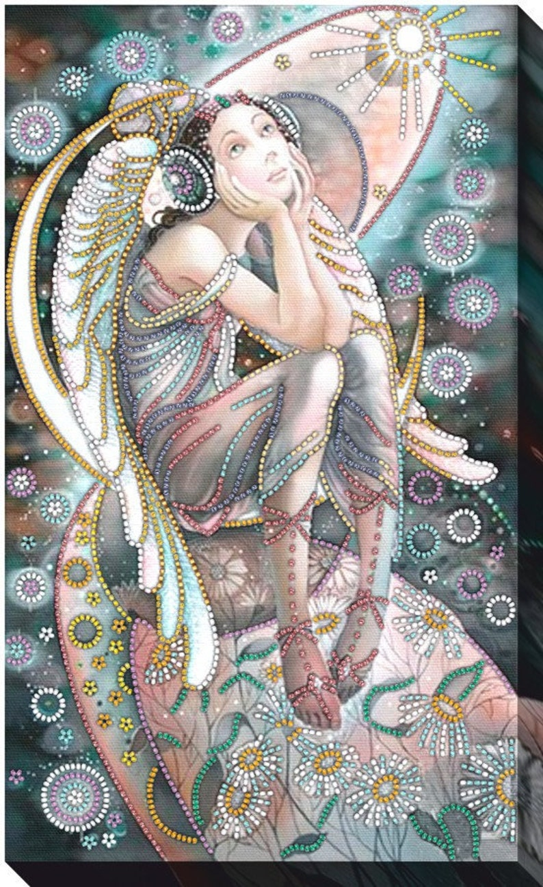 needlepoint beading FREE Shipping room wall decor DIY Bead embroidery kit Angel in the night beaded painting set