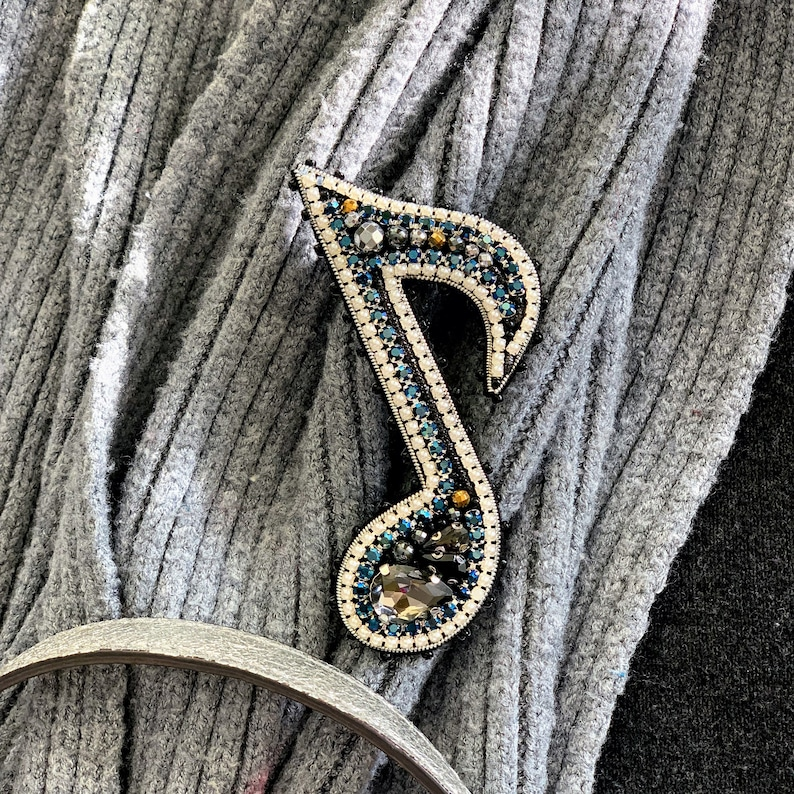 music themed jewellery,Gift for Her Musical note beaded brooch,musical note brooch Pin,Music Note,Musical Brooch,musical note pin
