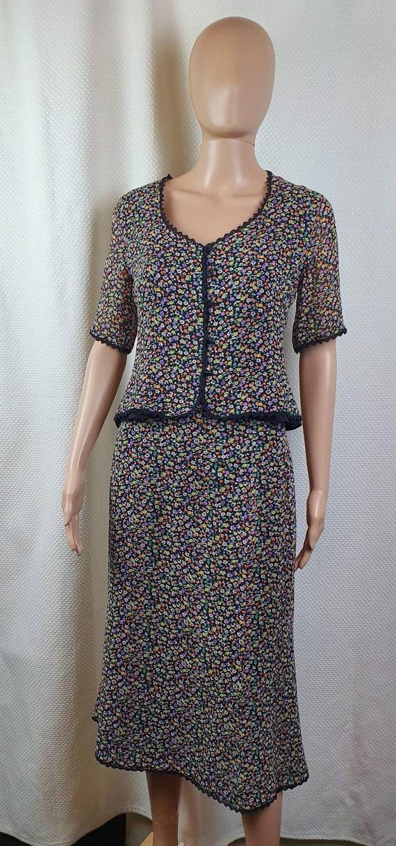 CAROLINE CHARLES LONDON Silk Two Piece Set. Flora… - image 2