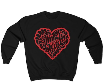 d9dd5a72 Red Heart Valentine Sweatshirt, Heart Sweatshirt, Valentine Sweatshirt,  Valentines Sweater, Heart Sweater |Many Colors Option - Sizes S-5XL