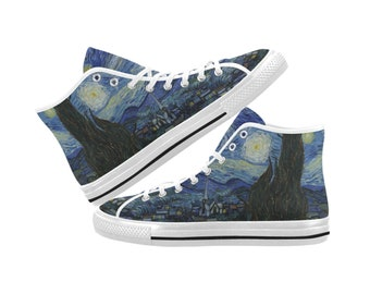 ad1cb628fa Van Gogh Starry Night Canvas High Top Shoes Sneakers - Men and Women Sizes  - White and Black