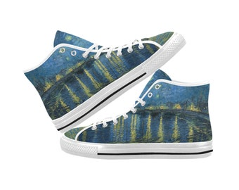 462f5427d32 Van Gogh Starry Night Over The Rhone Canvas High Top Shoes Sneakers - Men  and Women Sizes - White and Black