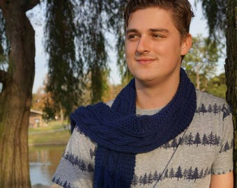 Navy Blue Hand Knit Scarf