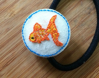 Goldfish Embroidered Ponytail Holder