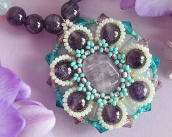 Amethyst, Opal, Pendant Necklace, Beaded Necklace, Czech Crystals, Bohemian Jewelry, Boho Necklace