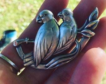 Sterling silver bird pin ~ antique