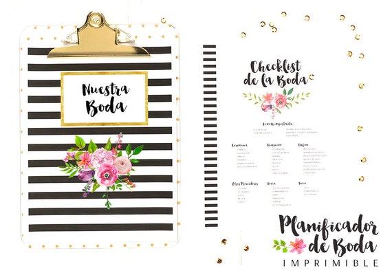 planificador de boda descargable agenda de boda para etsy