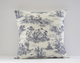 Toile de Jouy Cushion, Blue Pillow, French Toile Cushion, Country Cottage