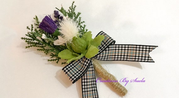 Wedding Flowers Heather Buttonhole Corsage with Tartan Ribbon Groom Bestman