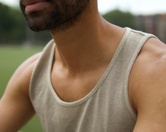 100% hemp tank top, men undershirt, organic fashion, vegan, more colors