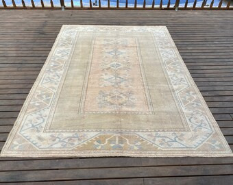 Turkish Rug 5x8 ft,large area rug,muted color rug,vintage oushak rug,bedroom rug,green rug runner,hand knotted rug,bohemian rug,rustic rug