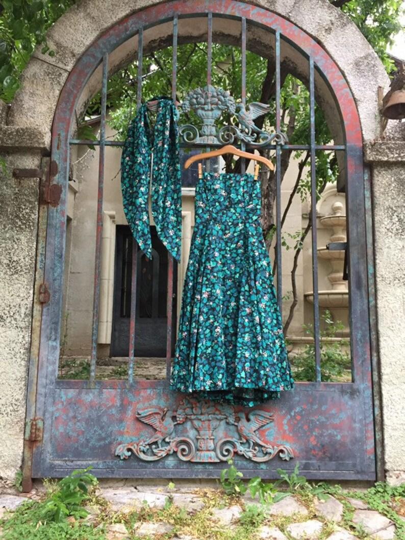 Vintage 1950s Woodland Ivy Print Dress \u2022 XS Midcentury Garden Leaves Gown Fae Fairy