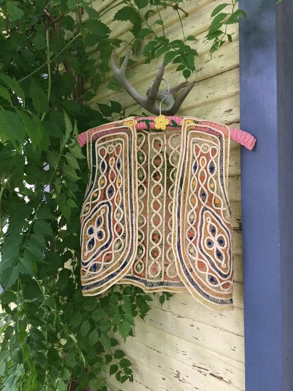 Vintage Handmade 1970s Ribbon Work Folk Art Vest