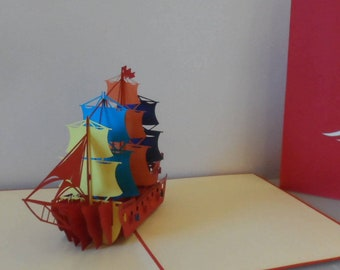 Red Galleon  Ship - 3D Pop up Card- blank- birthday-retirement (sku076)