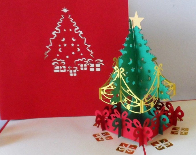 Featured listing image: Christmas Tree and Presents - Pop up Card - 3D (sku419)
