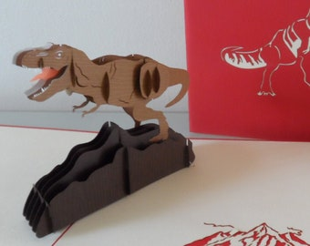 T Rex - Tyrannosaurus -Dinosaur - 3d - Pop up Card -Birthday (sku175b)