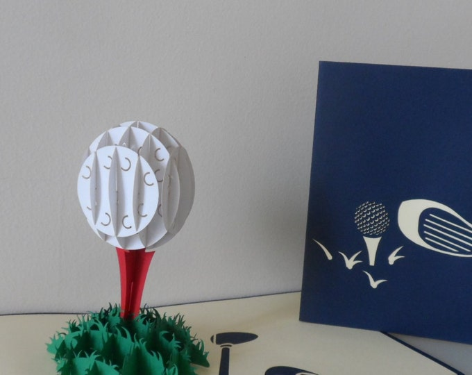 Featured listing image: Golf Ball Tee Off 3d  Pop up Card - blank- birthday- retirement (sku124)